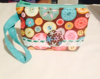 Handmade Cotton Zippered Coin Purse Wristlet With Vintage Lace - Sew Delightful!