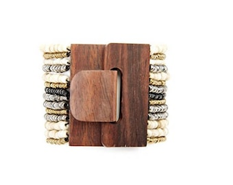 Wood Buckle Bracelet with Natural Multi-color Strands of Glass Beads