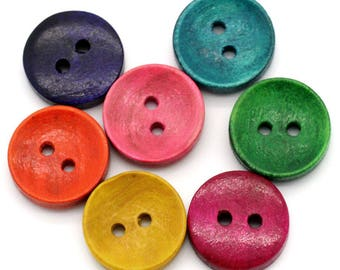 Set of 10 buttons round wood - solid color - 15 mm - 2 holes