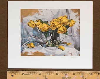 "Archival Print of Wilted Yellow Roses with Drapery, Giclee Print of Original Oil Painting, Fallen Rose Petals - ""Wilted Yellows"""
