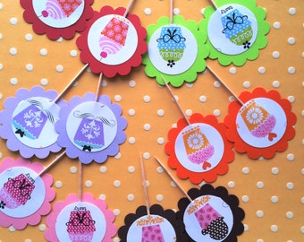 cupcake toppers, birthday cupcake toppers