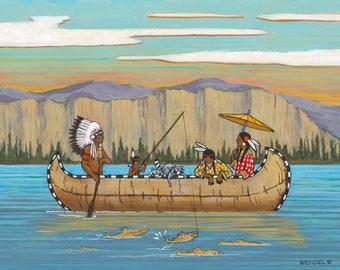 Fishing on the Gallatin - Giclée Print - Western Whimsicals by Marcia Wendel - Wall Art
