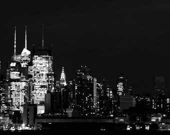 Good Night New Yoker - New York Skyline I Love New York Big Apple Empire State Building Skyline NYC night Fine Art Print 10x30 Limited 1/50