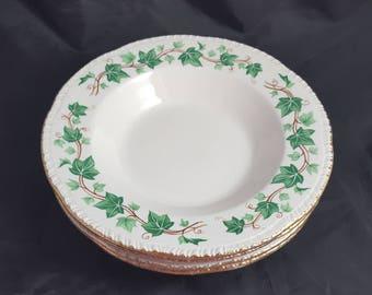 """4 Homer Laughlin Ivy Rimmed Soup Bowls 8 1/4"""""""