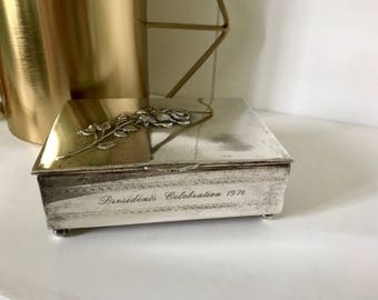 "Vintage silver plate ""President's Celebration"" 1974 jewelry/trinket box"
