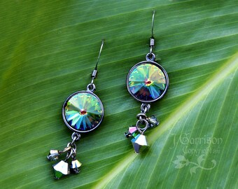 Oil Slick Crystal & Gunmetal Earrings - Boho chic -changing Swarovski crystal - free shipping in USA
