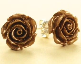 Vintage Gold Color Rose Button Post Earrings 12mm