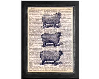 Three Sheep - Sheep Art Printed on Recycled Vintage Dictionary Paper - 8x10.5
