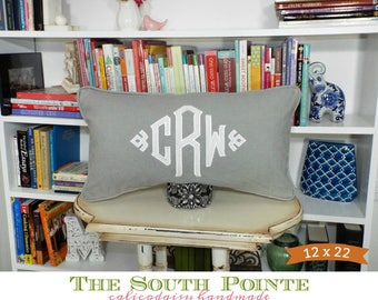 Applique Monogram Long Lumbar Pillow Cover - 12 x Various Lengths