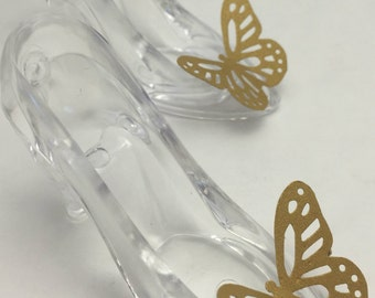 Cinderella Party Favors: Cinderella Glass Slipper and Gold Butterfly Candy Holders