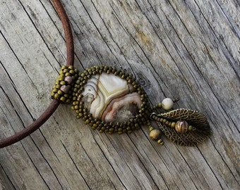 Beaded Cabochon Beaded Bale Necklace  - Bead Weaving - Statement Necklace - Crazy Lace Agate Cabochon Pendant - Leather Cord - BOHO