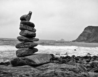 Stacked Stones, Rock Tower, California Print, California Wall Art, Stone Cairn, Nature Print, Coastal Art, Beach Photos, Seascape, Big Sur