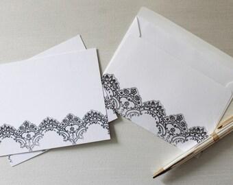 "Fashion Note Cards Matching Envelops, Couture Personal Stationery Set, Fashion Illustration, ""Lace"", Samantha Burns, Samantha Illustration"