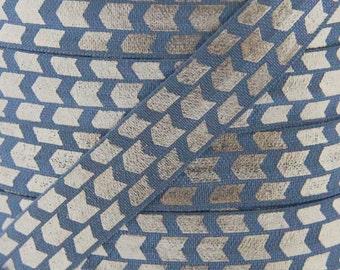 Metal Gray and Gold Metallic Arrow Print Fold Over Elastic - Elastic for Baby Headbands and Hair Ties - 5 Yards 5/8 inch Printed FOE