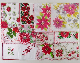 Vintage Christmas Hanky Lot,Lot of Vintage Christmas Hankies,One Dozen Assorted Vintage Christmas Hankies Handkerchiefs (Lot #L9)
