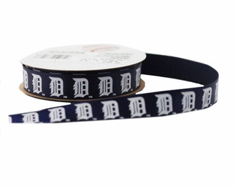 Offray MLB Detroit Tigers Fabric Ribbon, 5/8-Inch by 9-Feet, Blue/White