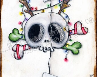 INSTANT DOWNLOAD Digi Stamp Digital Image Christmas Skull and Crossbones ~ Creep-deer Image No. 137 by Lizzy Love