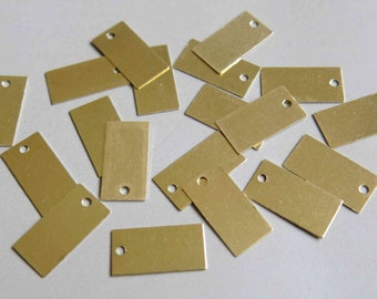 200pcs Raw Brass Rectangle Charms,Stamping Tags Findings 14mm x 7.3mm - F209