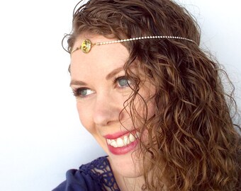 REDUCED PRICE Gold and Amber Goddess Boho Circlet