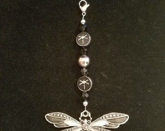 Black and silver dragonfly
