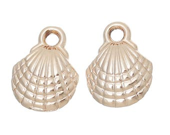 10 Rose Gold Tone Clam Shell Charms 13mm x 10mm  (B232g)