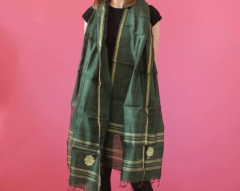 NEW Raw silk dupatta / green stole / silk stole / green silk shawl / Indian dupatta / flower stole / gift for her / paisley / handworked
