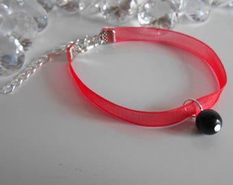 Adult/child red organza Ribbon and black pendant wedding bracelet