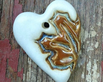 Ceramic Pendant, Ceramic Heart, Heart Pendant, Maple Leaf Pendant, Leaf Pendant