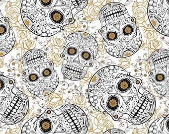 Sugar Skulls & Blooms-David Textiles-BTY