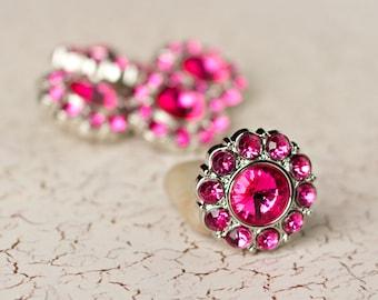5 Rhinestone Buttons - Hot Pink Buttons - Lauren Button - 25mm - Plastic Buttons - Acrylic Buttons
