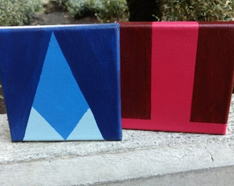 "2 5""x5"" Steven Universe, Ruby and Sapphire, Minimalist Paintings"