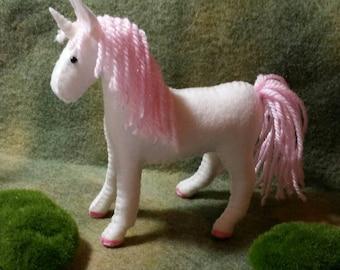 100% Wool Felt Kawaii Unicorn-Light Pink Sparkle