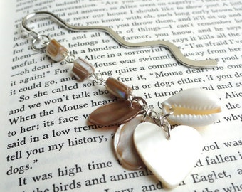 Beaded bookmark - shell bookmark - pearl bookmark - mother of pearl - beach bookmark - heart bookmark - cream tones bookmark