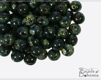 60 pcs Jet Travertine Czech Glass Round Beads 6 mm (5028)