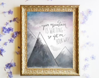 """Adventure Art Print, Dr. Seuss Watercolor Printable Quote ~ """"Oh the Places You'll Go"""" ~ 8x10 Handlettering Calligraphy Wall Art Download"""