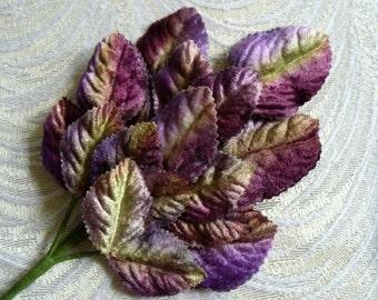 Velvet Leaves Purple, Lavender and Apple Green Ombre Beautiful Spray of 18 Velvet Millinery Leaves 7LN0001PU