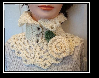 Crochet Pattern neckwarmer collar scarf num 179, CARMELLA .Romantic Neckwarmer, Beginner level,make it and sell it