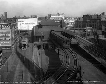 "1904 Dudley Street L Station, Boston , MA Vintage Photograph 13"" x 19"""