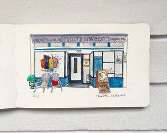 Spin City Laundrette - Original Watercolour