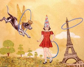 "COLLAGE PRINT - Wall decor, childrens room art, nursery room art, 8"" x 10"" print,  Eiffel Tower, Paris, Crown, Vintage Girl, retro"