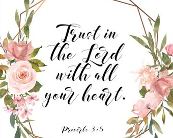 Proverbs 3:5 Christian wall art printable