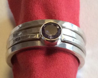 Iodite sterling silver stacking rings (4)