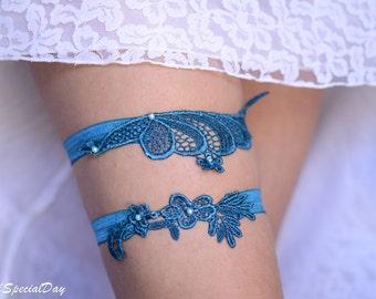 Bridal Garter, Teal  Blue Garter, Wedding Garter, Blue Lace Garter, Bridal Garter Set, Something Blue, Wedding Garter Blue, Blue Garter Set
