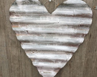 Large whitwashed tin heart, Shabby chic tin heart, shabby valentines decor, shabby tin heart, shabby wedding decor, chic wedding decor, tin