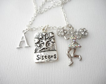 Sisters, Cheerleader- Initial Necklace/ Sister jewelry gift, message jewelry, lil sis big sis, big sister, little sister, sister quote