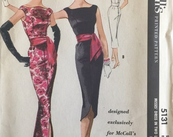Rare Vintage Sewing Pattern McCall's Pattern 5131 Pauline Trigere Cocktail Evening Gown Wedding Dress ©1959