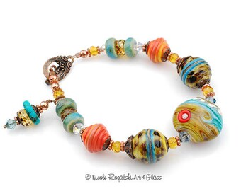 California Dreaming Beaded Bracelet - Artisan Lampwork Glass, Turquoise, Orange, Copper, Silver