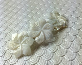 Pure White Peruvian Lily Mother of Pearl Flower Barrette