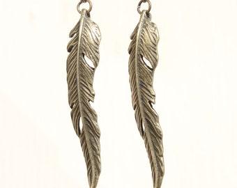 Brass Earrings Leaf Earrings Leaves Earrings Dangle Drop Boho Earrings Bohemian Jewelry Long Earrings Gift For Her Gift For women