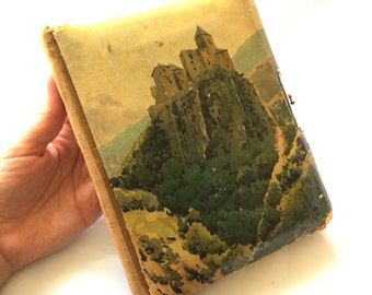 Small Victorian Photo Album Mountain Top Castle Scene